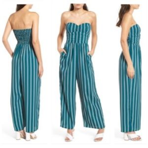 Band of Gypsies Pants - Band Of Gypsies Floral Strapless Jumpsuit- POCKETS